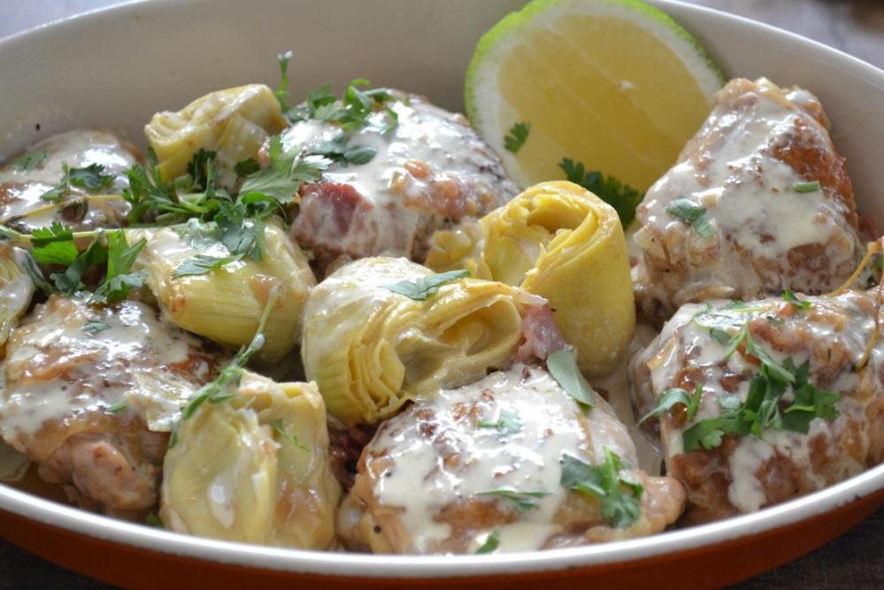 Creamy Chicken and Artichokes...by Yudhika Sujanani