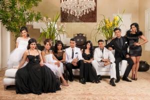 The Mela Family...left to right, Yarisha Singh, Kajal Bagwandeen, Yudhika Sujanani, Jailoshni Naidoo, Tevin Naidu, Farrah Mia, Fadeen Mia, Mishal Mookrey, and Zakeeya Patel