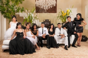 The Mela Family...left to right, Yarisha Singh, Kajal Bagwandeen, Yudhika Sujanani, Jailoshni Naidoo, Tevin Naidu, Farrah Mia, Fadeen Mia, Mishal Mookrey, and Zakeeya Patel