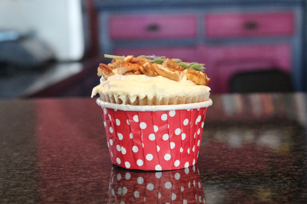 Spring cupcakes...deliciously light carrot and cream cheese frosted cupcakes by Yudhika Sujanani