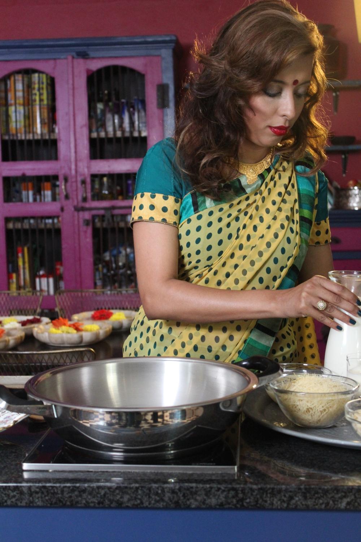 Yudhika prepping for the Pongal shoot on SABC 2's Mela