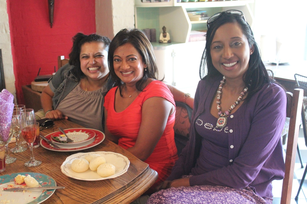 Phenomenal women...Krivani Pillay SAFM, Devi Sankaree Govender - Carte Blanche, and Koo Govender - Phakama Women's Academy  enjoying the treats at Holi Cow!