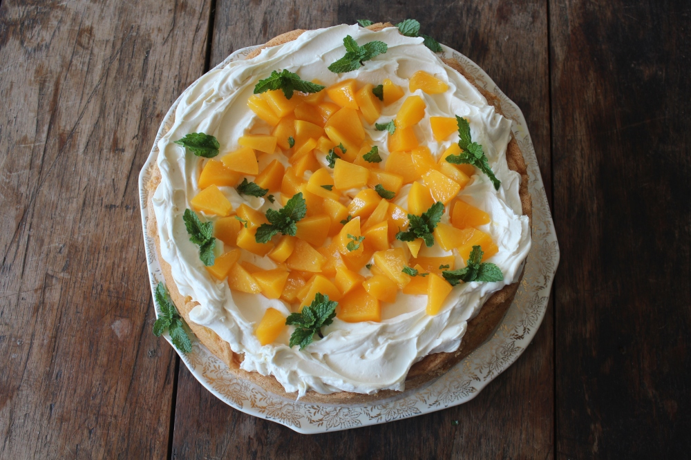 Peaches and Cream Cake by Yudhika Sujanani