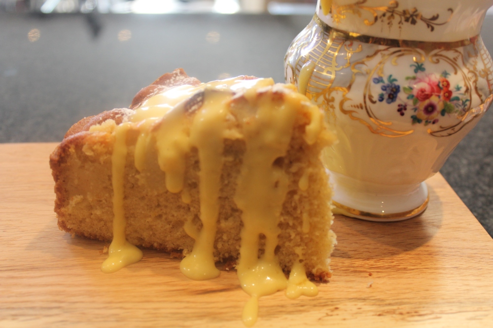 Ready to serve...Yudhika's Saffron Apple Cake drizzled with home-made custard!