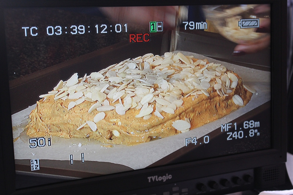 Marinated Paneer crusted with flaked almonds ready for the oven....Sugar & Spice with Yudhika on the Home Channel